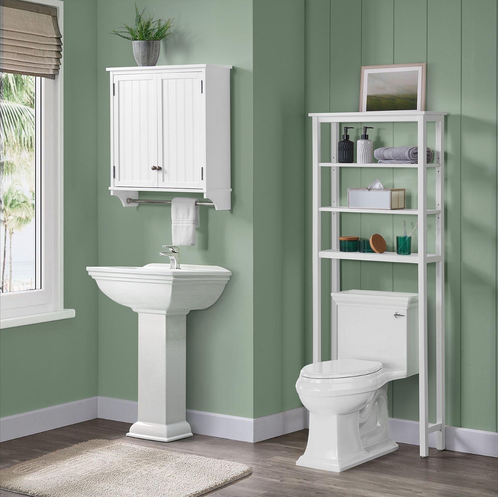 Dover Over Toilet Organizer With Open, White Over The Toilet Cabinet With Towel Bar